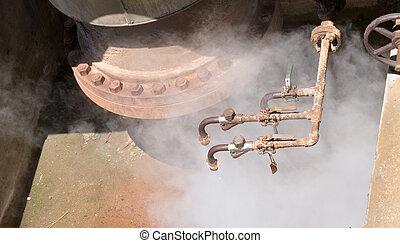 bien, geotérmico, presión del agua, caliente, vapor, válvulas