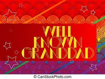 bien, text., retro, conocido, granddad