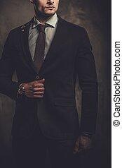 bien vestido, fondo., hispano, serio, posar, hombre, ...