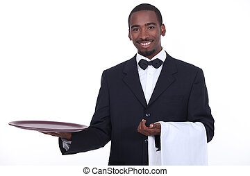 bien vestido, negro, camarero