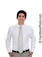 bien vestido, presentación del hombre joven