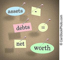 bienes, ecuación, deudas, iguales, valor, palabras, contabilidad, red, menos