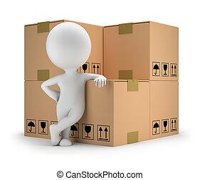 bienes, gente, -, entrega, pequeño, 3d