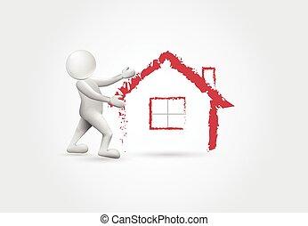 bienes raíces, casa, -3d, blanco, gente, logotipo