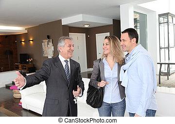 bienes raíces, casa, actuación, moderno, agente, pareja