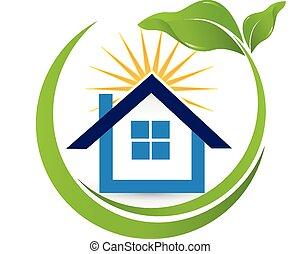 bienes raíces, casa, agente, sol, logotipo