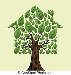 bienes raíces, casa, concept., árbol, verde