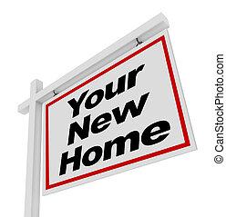 bienes raíces, casa, muestra de la venta, nuevo hogar, su