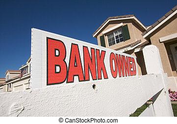 bienes raíces, casa, norteamericano, owned, señal, bandera,...