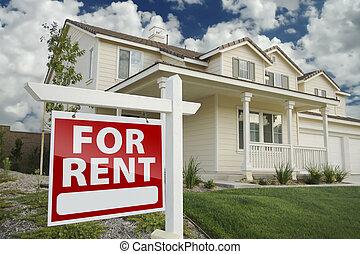 bienes raíces, casa, señal, alquiler, frente