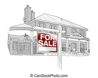 bienes raíces, casa, venta, costumbre, blanco, señal, dibujo