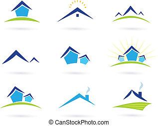 bienes raíces, /, casas, logotipo, iconos