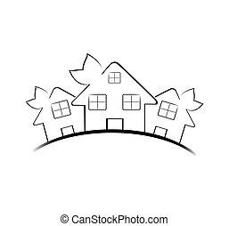 bienes raíces, casas, tres, ilustración, aislado, fondo.,...