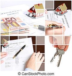 bienes raíces, collage.