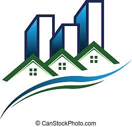 bienes raíces, comunidad, logotipo, vector