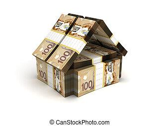 bienes raíces, concepto, dólar canadiense