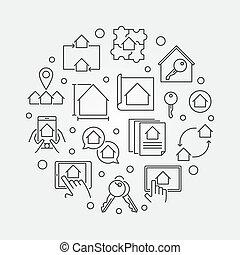 bienes raíces, contorno, vector, circular, ilustración