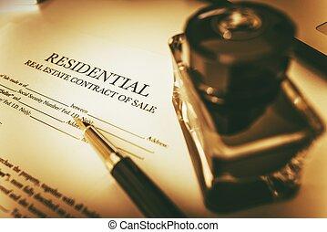 bienes raíces, contrato, de, venta