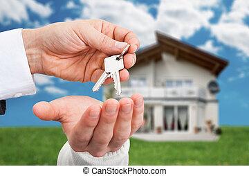 bienes raíces, dar, casa, agente, llaves, contra, dueño,...