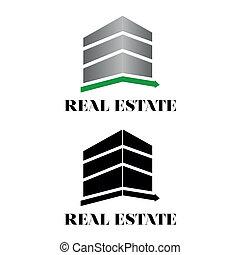 bienes raíces, edificio, logotipo