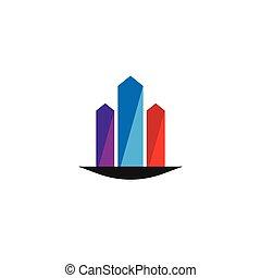 bienes raíces, edificio, logotipo, diseño, concepto, vector