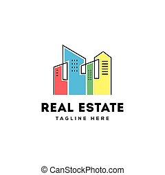 bienes raíces, edificio, logotipo, diseño
