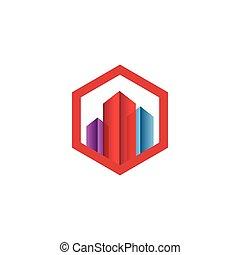 bienes raíces, edificio, logotipo, icono, vector, plantilla