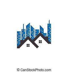 bienes raíces, edificio, logotipo, plantilla