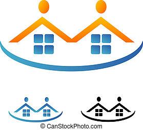 bienes raíces, equipo, logotipo