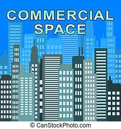 bienes raíces, espacio, comercial, ilustración, describes, oficinas, 3d