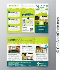 bienes raíces, folleto, aviador, diseño, vector, plantilla,...