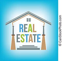 bienes raíces, icono, vector