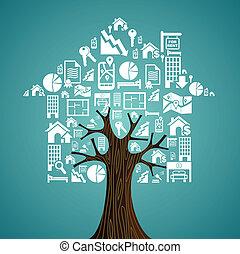 bienes raíces, iconos, árbol, concept., house., alquiler