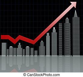 bienes raíces, inversión, gráfico, con, reflexión, piso