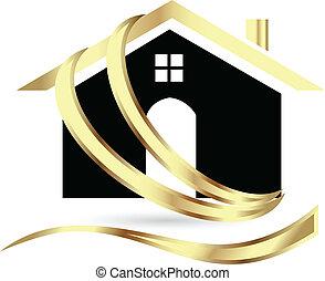 bienes raíces, lujo, casa, logotipo
