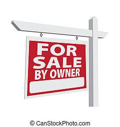 bienes raíces, muestra de la venta, vector, dueño