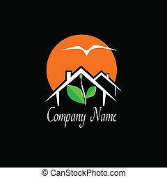 bienes raíces, o, agencia de viajes, logotipo