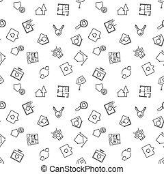 bienes raíces, patrón, seamless, vector, línea fina
