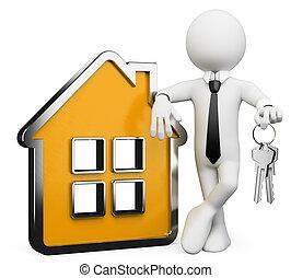 bienes raíces, personas., hombre de negocios, blanco, 3d