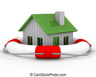 bienes raíces, rescue., aislado, 3d, imagen en blanco