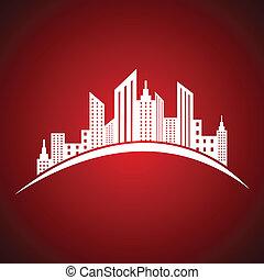 bienes raíces, resumen, des, blanco, icono