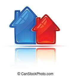 bienes raíces, símbolo, dos, casas, icono