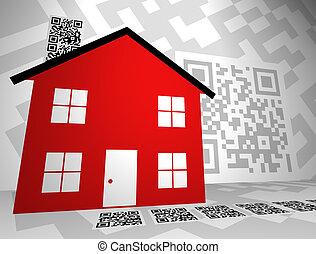 bienes raíces, themed, qr, códigos, concepto, diseño, -,...
