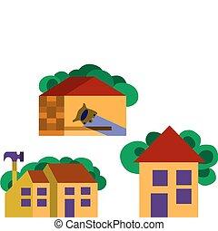 bienes raíces, y, un, trabajo, herramientas