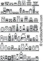 bienes, tienda, estantes
