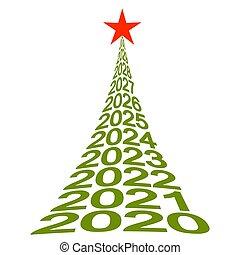 bienestar, árbol, 2020, vector, navidad, símbolo, año,...