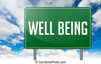 bienestar, en, carretera, signpost.