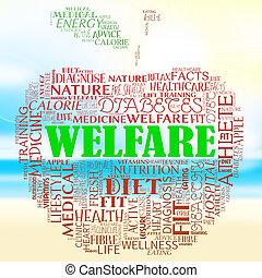 bienestar, manzana, representa, bienestar, y, atención...