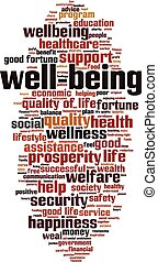 bienestar, palabra, nube