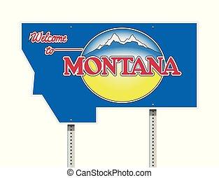 bienvenida, a, montana, muestra del camino